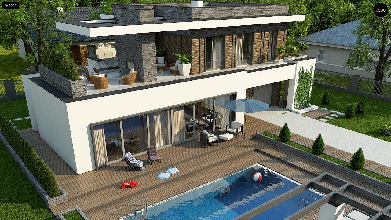 Стильный дом в современном стиле с просторной террасой на втором этаже. 5