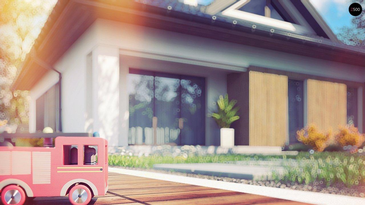 Проект комфортного одноэтажного дома с оригинальными фасадными окнами на чердаке. 6