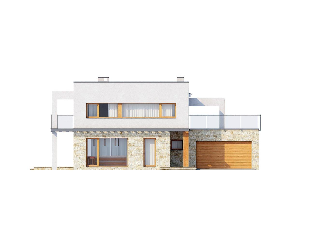 Практичный двухэтажный дом в современном стиле с обширной террасой над гаражом. - фото 3