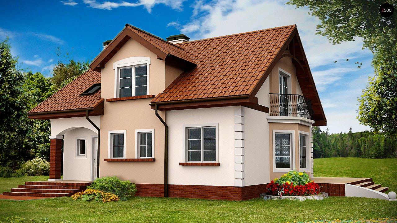 Элегантный дом с мансардой, эркером и балконом над ним. 1