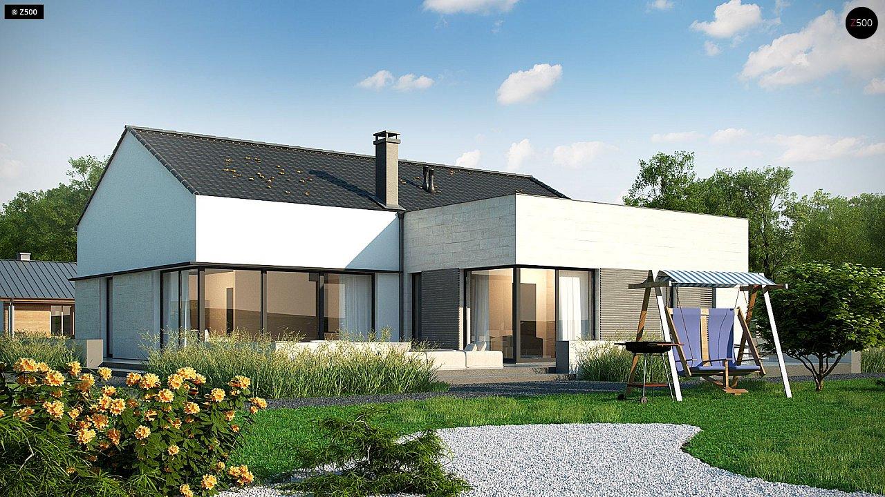 Проект одноэтажного дома Z390 с гаражом на 1 машину и красивым белым фасадом 2