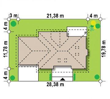 Версия проекта Z10 с гаражом с левой стороны, мансардой и балконом. план помещений 1