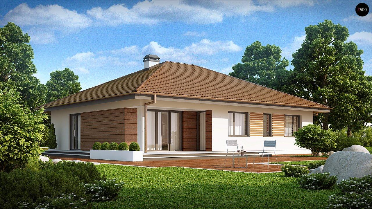 Проект удобного одноэтажного дома с гаражом для двух автомобилей и большим хозяйственным помещением. 1