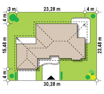 Проект одноэтажного дома с просторной гостиной и гаражом для двух машин. план помещений 1