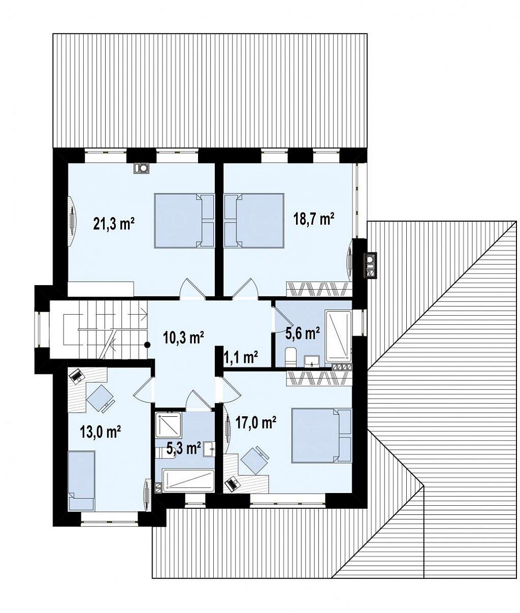 Элегантный двухэтажный дом с гаражом, с 5 спальнями план помещений 2
