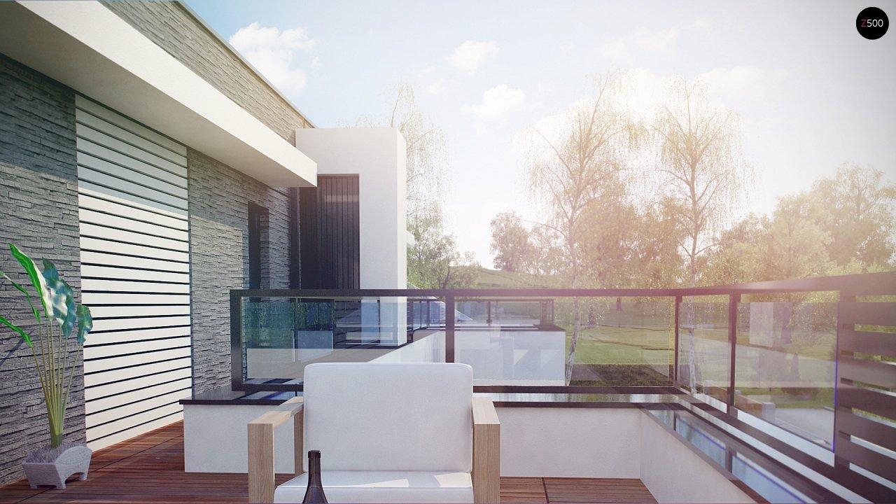 Современный проект домов-близнецов с большим гаражом и террасой на втором этаже. 9