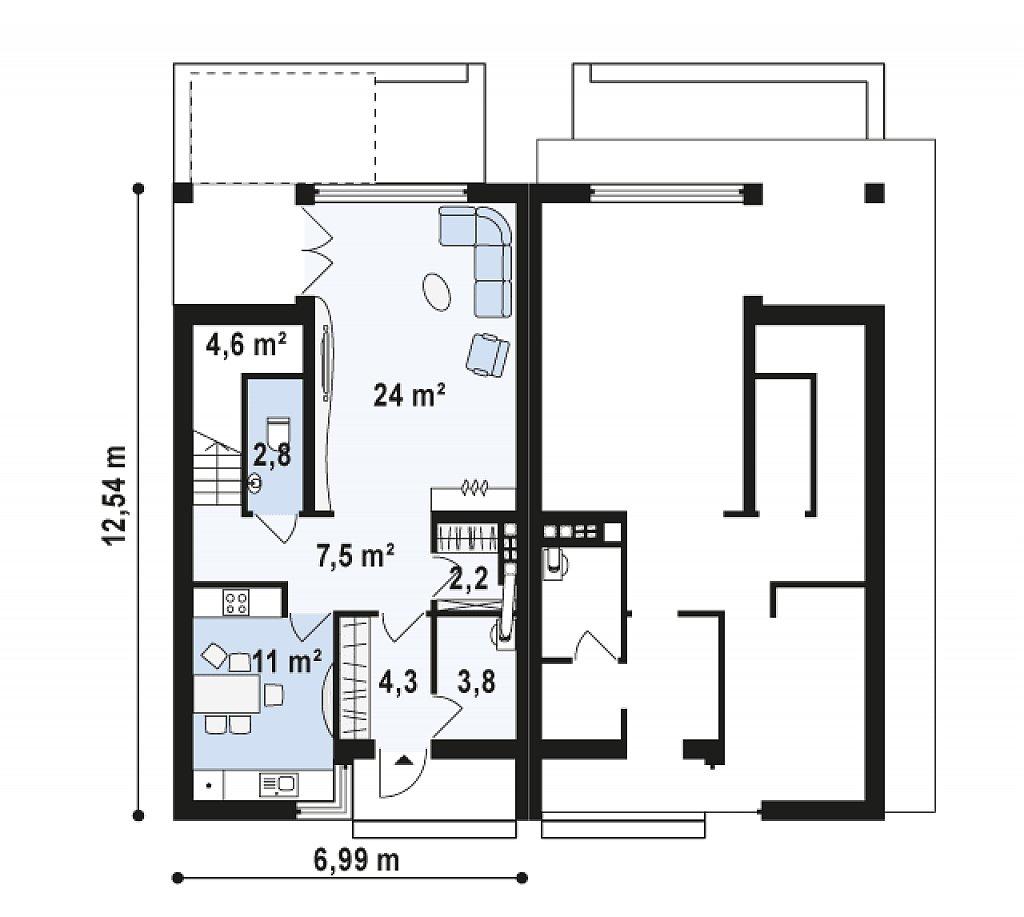 Компактные дома близнецы в современном стиле с уютным интерьером. план помещений 1