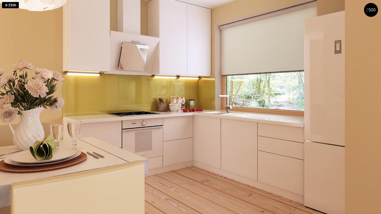 Функциональный одноэтажный дом с фронтальным гаражом для двух авто, большим хозяйственным помещением, с кухней со стороны сада. 9