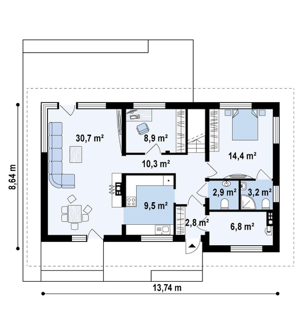 Просторный двухэтажный дом с двумя дополнительными спальнями на первом этаже. план помещений 1