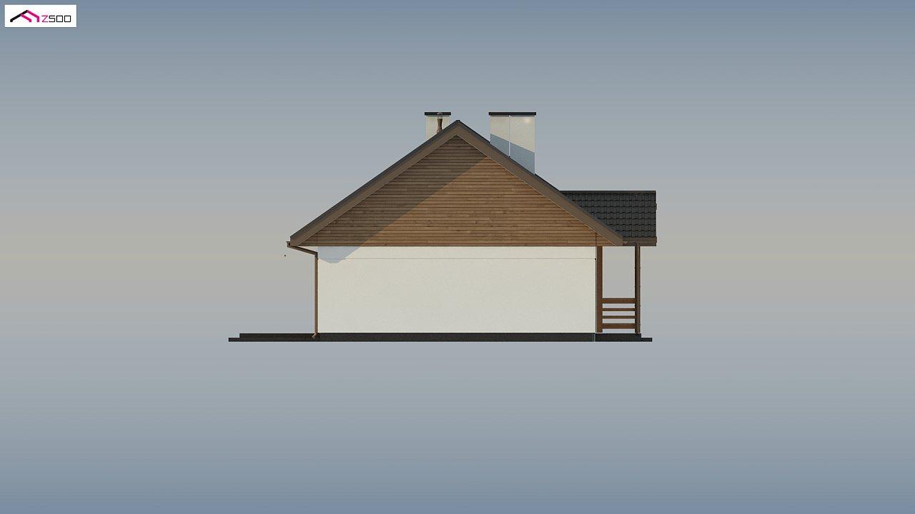 Аккуратный одноэтажный дом с деревянной отделкой на фасадах. 18