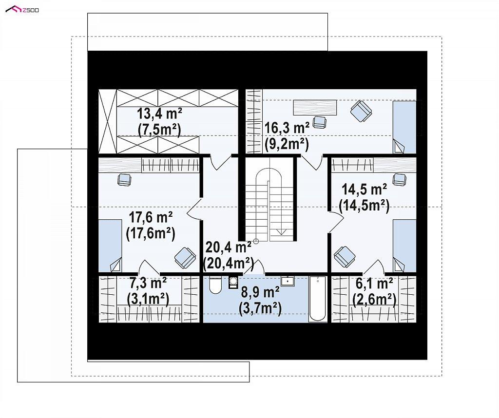 Комфортный просторный дом с одноуровневой планировкой. план помещений 2