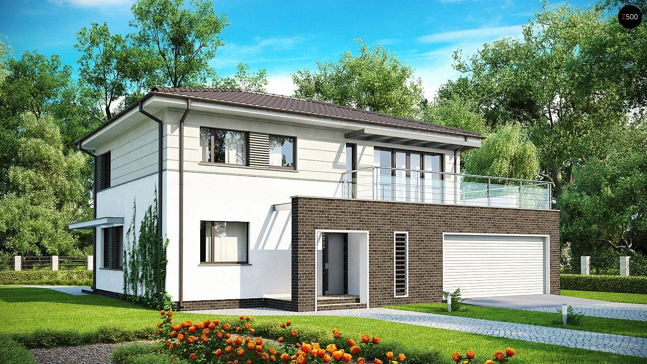 Практичный двухэтажный дом простой формы с низкой крышей, с гаражом для двух автомобилей. - фото 1