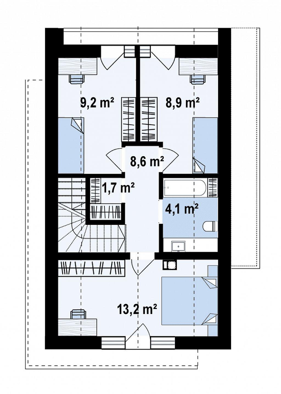 Проект одноэтажного дома с двускатной крышей для небольшого участка план помещений 2