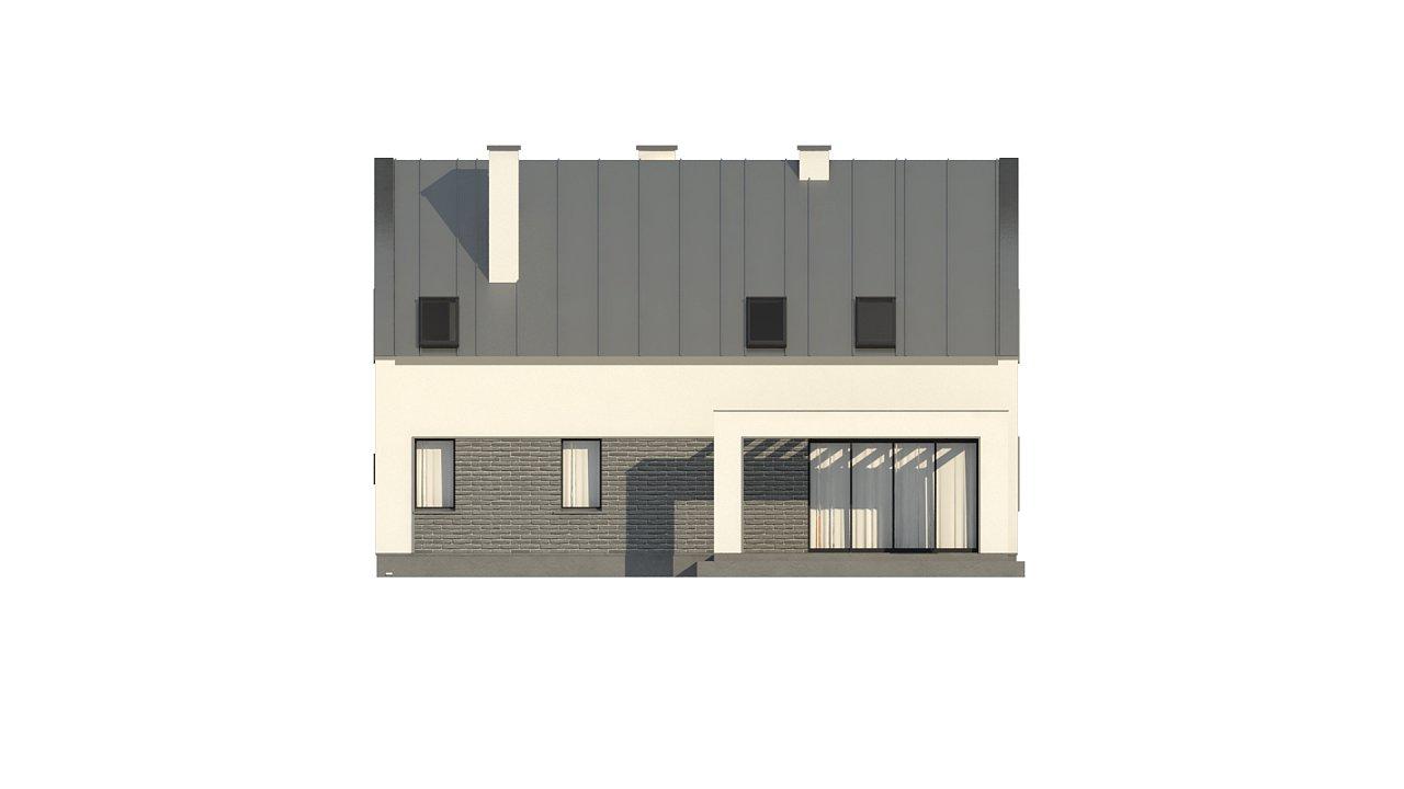 Проект мансардного с тремя спальнями и двускатной крышей 10