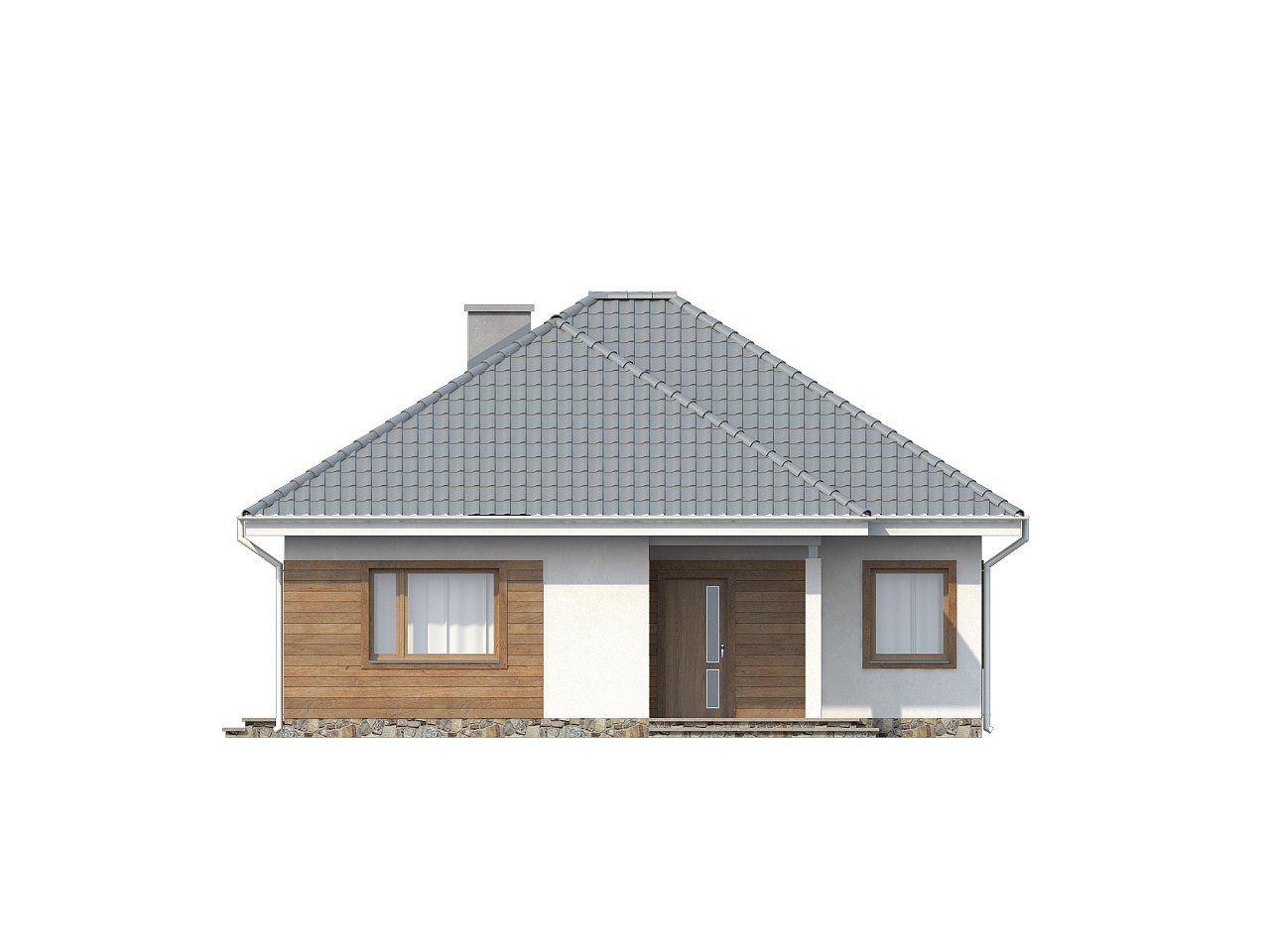 Проект одноэтажного практичного и уютного дома с крытой террасой. 22