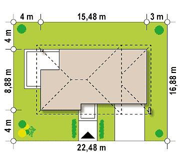 Двухэтажный современный дом с многоскатной низкой крышей, с гостиной с фронтальной стороны. план помещений 1