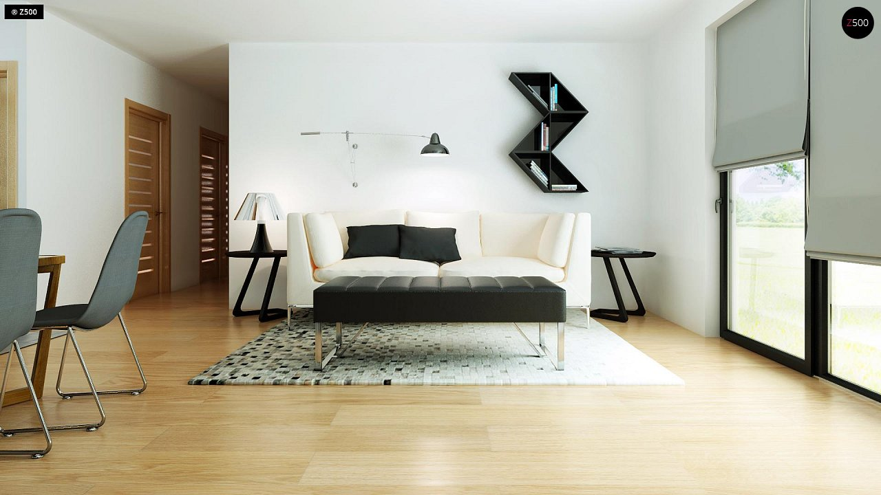 Современный комфортабельный одноэтажный дом с функциональным интерьером и уютной террасой. 8