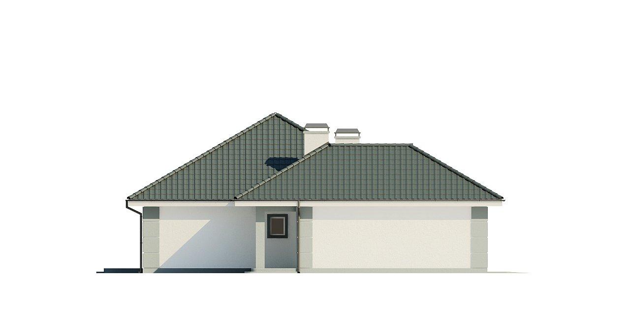 Проект одноэтажного дома с просторной гостиной и гаражом для двух машин. 5