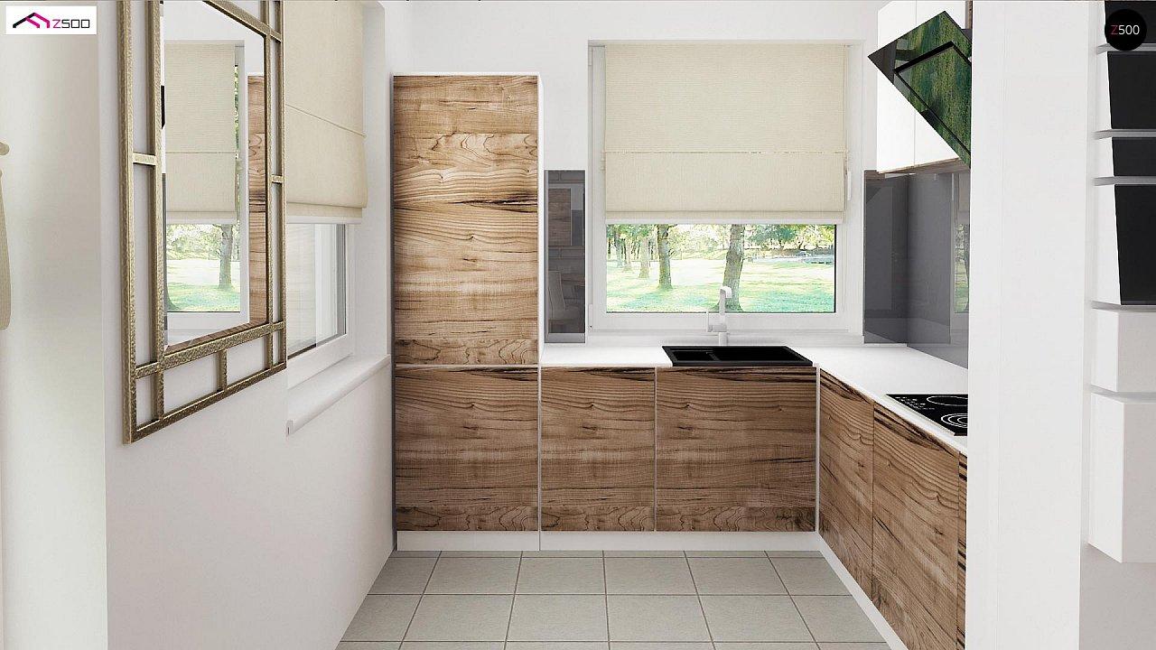 Вариант проекта Z39 c деревянными фасадами и гаражом расположенным с левой стороны. 7