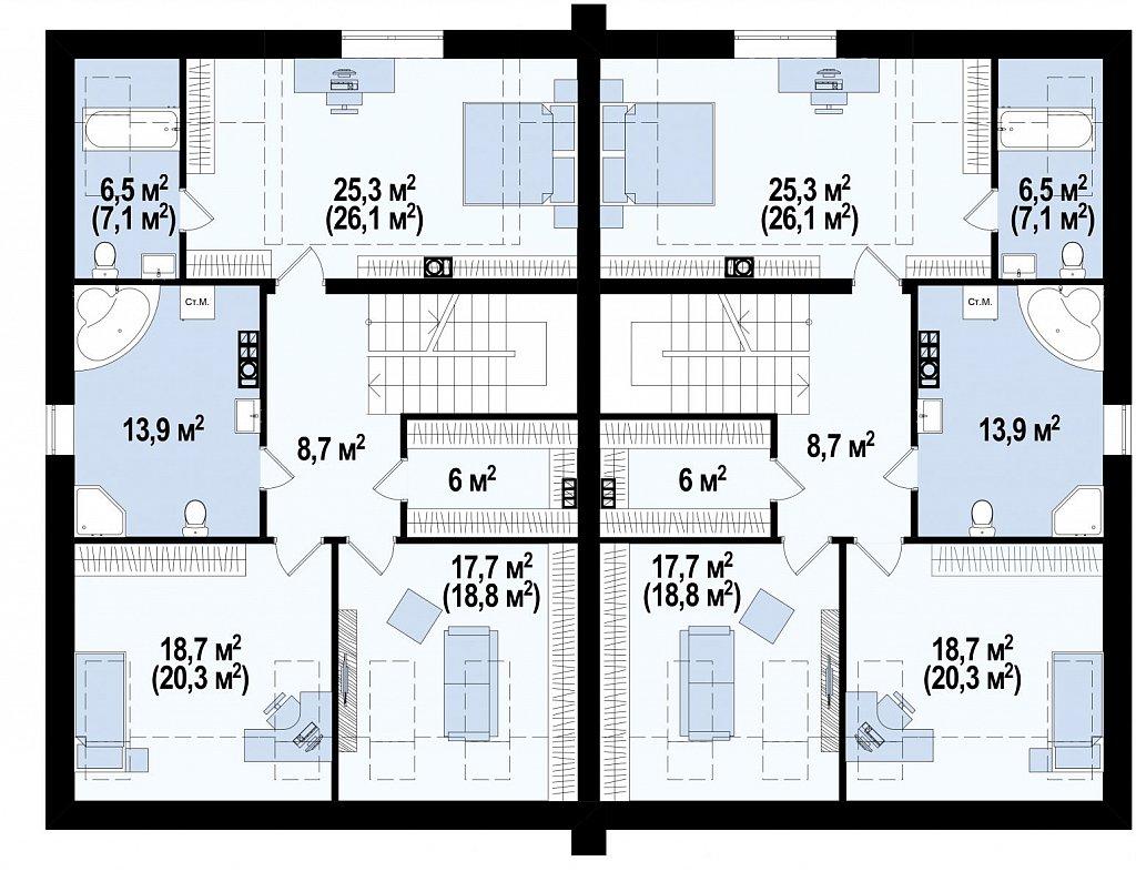 Проект домов для симметричной застройки стильного современного дизайна. план помещений 2
