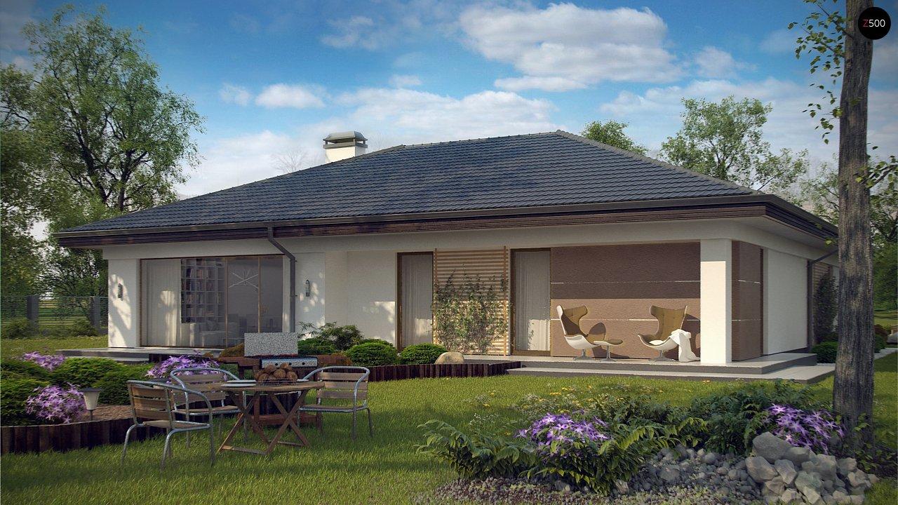 Проект одноэтажного дома с многоскатной крышей и гаражом на одну машину. - фото 3