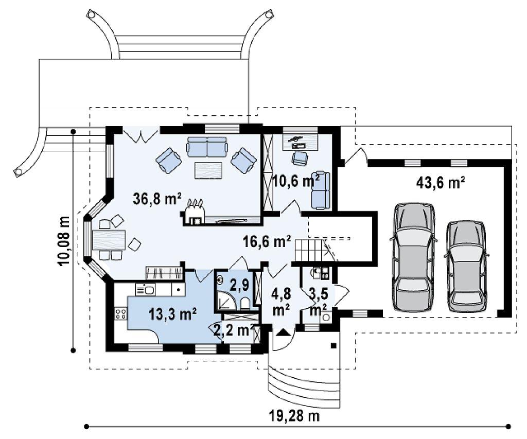 Версия проект Z28 в зеркальном отображении, с гаражом на два авто. план помещений 1
