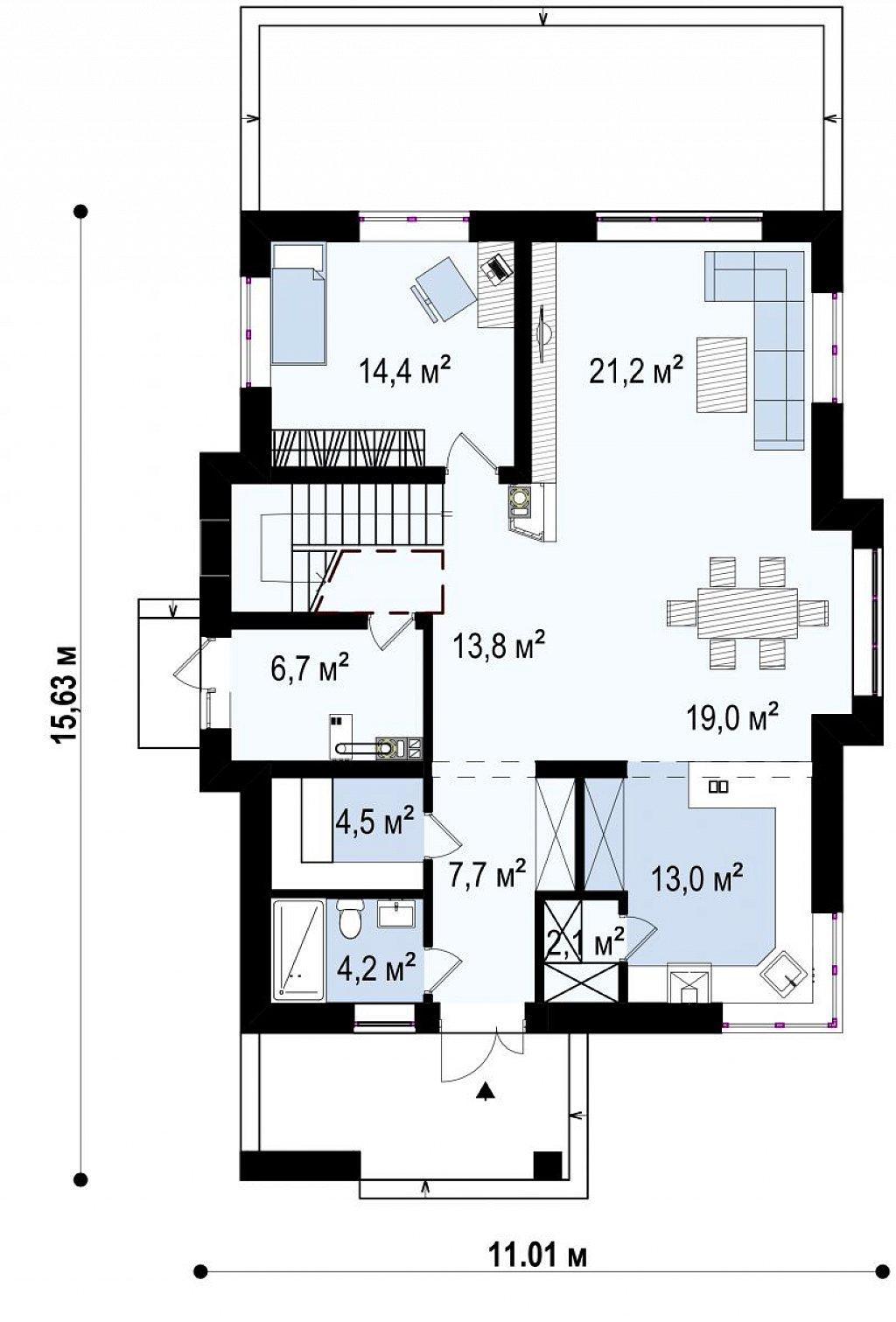 Проект оригинального двухуровневого современного дома без гаража. план помещений 1