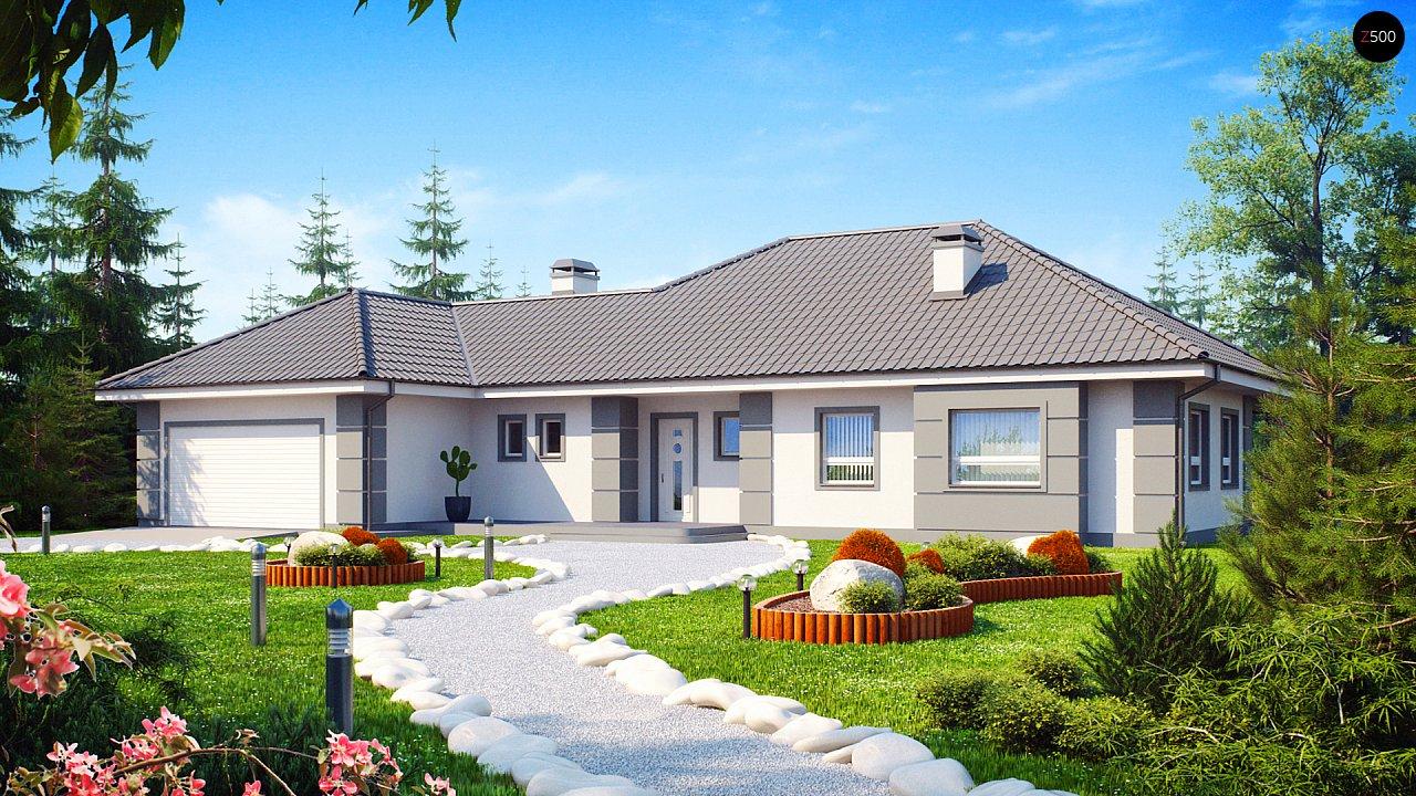 Проект одноэтажного дома с просторной гостиной и гаражом для двух машин. 1