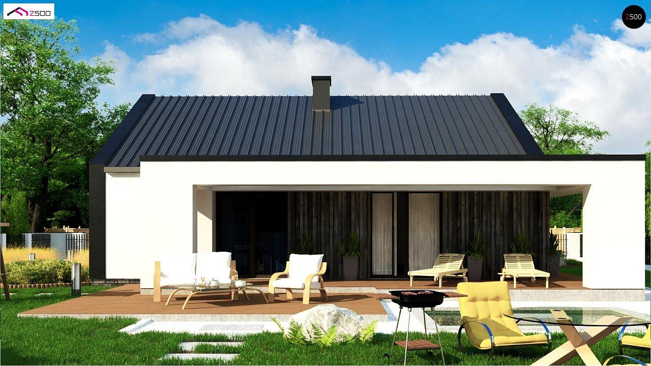 Компактный одноэтажный дом с двускатной крышей и 3 спальнями 3