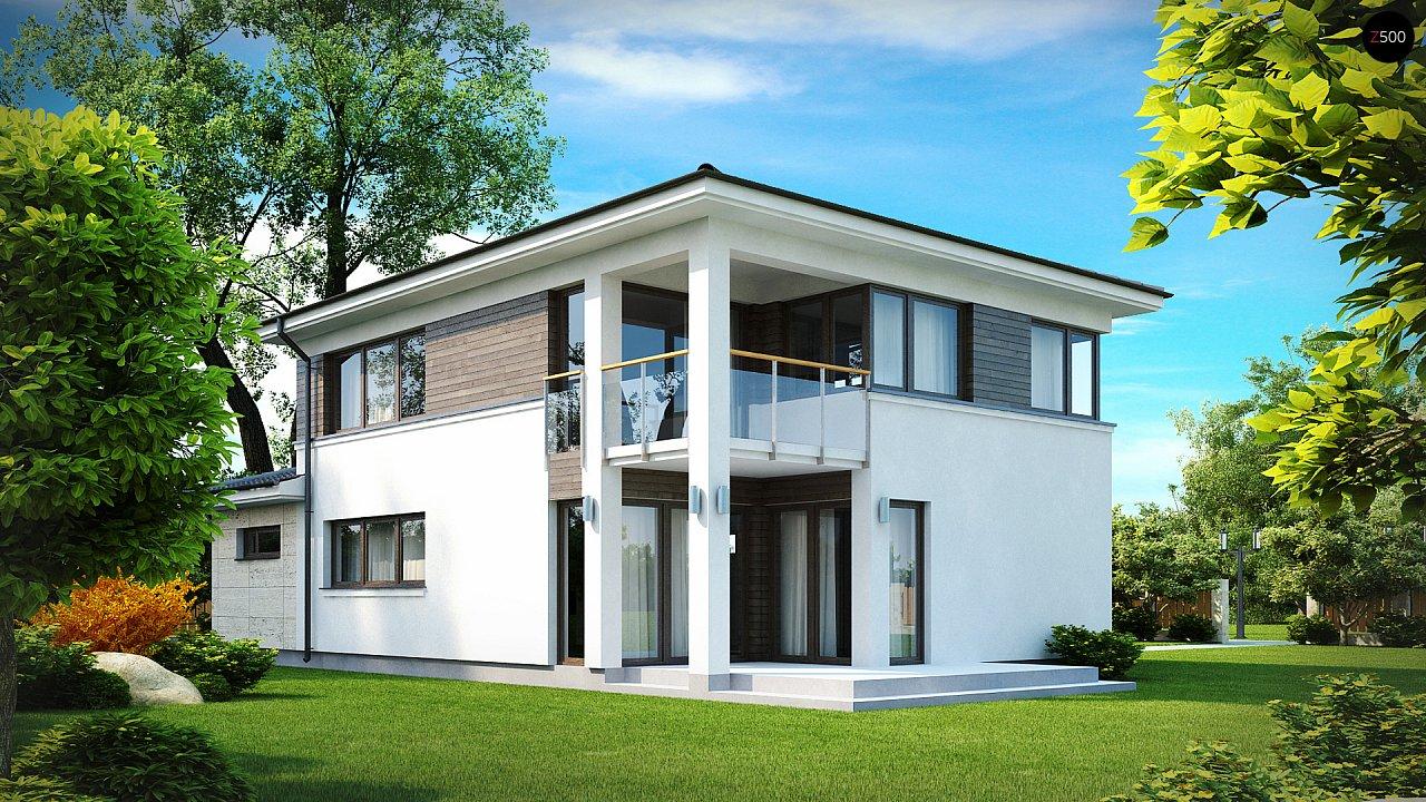 Двухэтажный современный дом с многоскатной низкой крышей, с гостиной с фронтальной стороны. - фото 2
