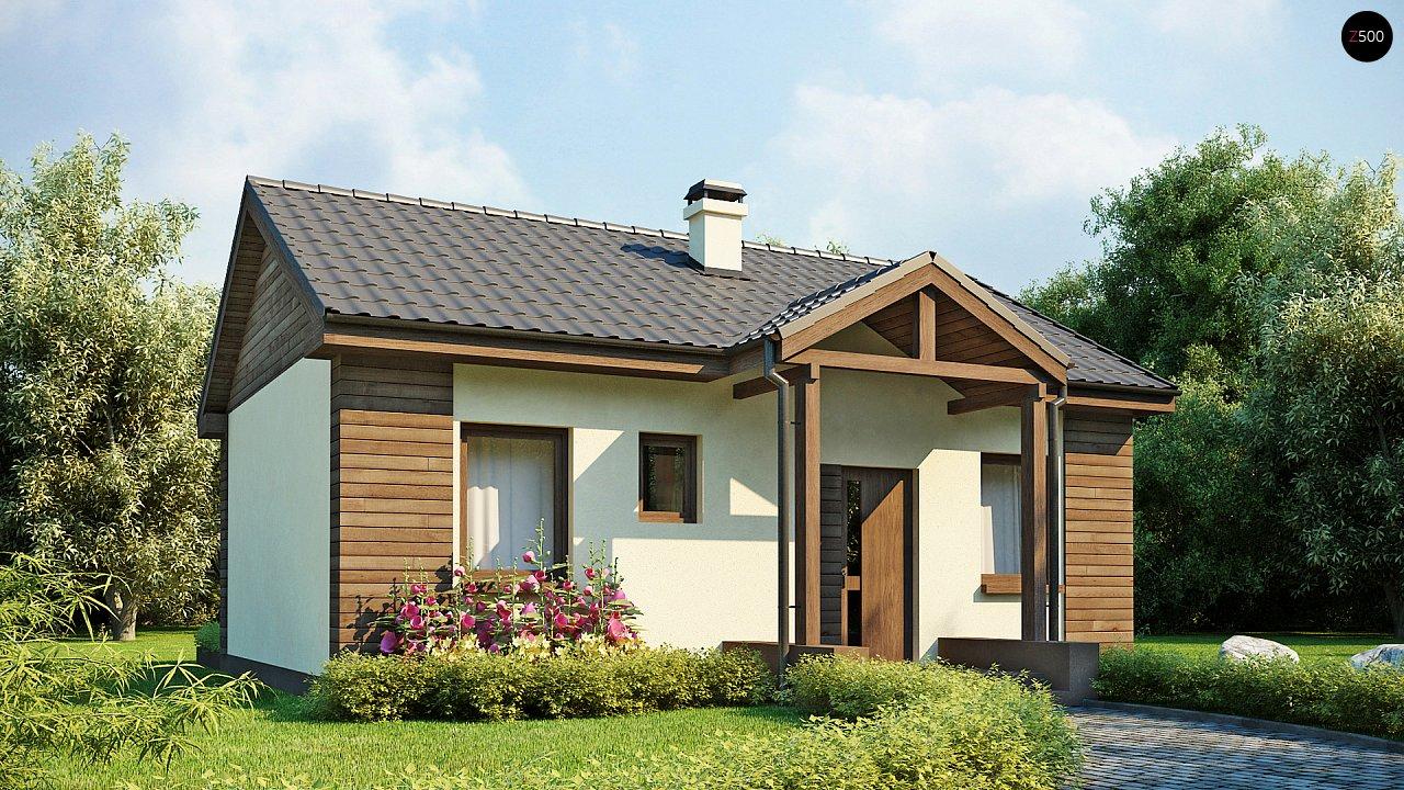 Маленький одноэтажный дом с двускатной кровлей, недорогой в строительстве и эксплуатации. - фото 1
