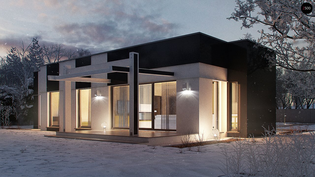 Одноэтажный комфортный дом в стиле хай-тек. 3