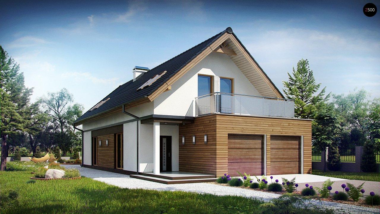 Практичный и уютный дом простой формы для узкого участка с террасой над гаражом. - фото 1