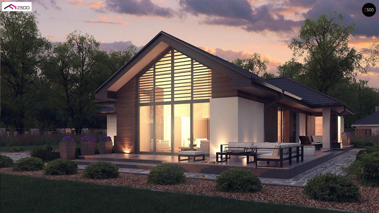 Стильный одноэтажный дом с панорамным остеклением в гостиной - фото 3