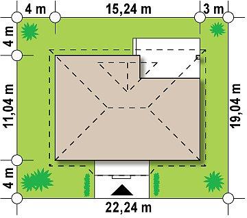 Традиционный одноэтажный дом с крытой террасой и оранжереей. план помещений 1