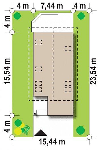 Дом простой формы с двускатной кровлей, с террасой над гаражом, также для узкого участка. план помещений 1