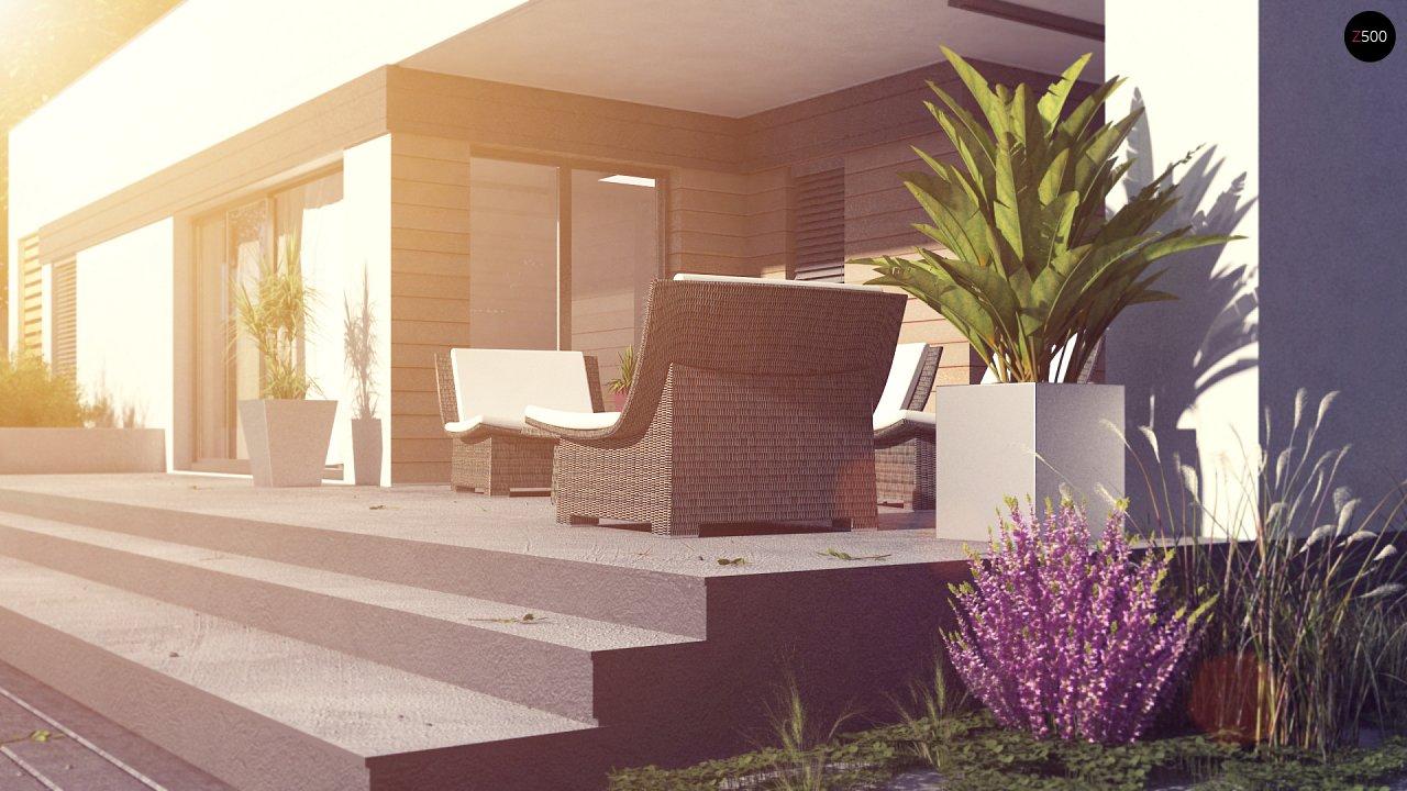 Современный одноэтажный дом хай-тек с навесом для автомобиля 5