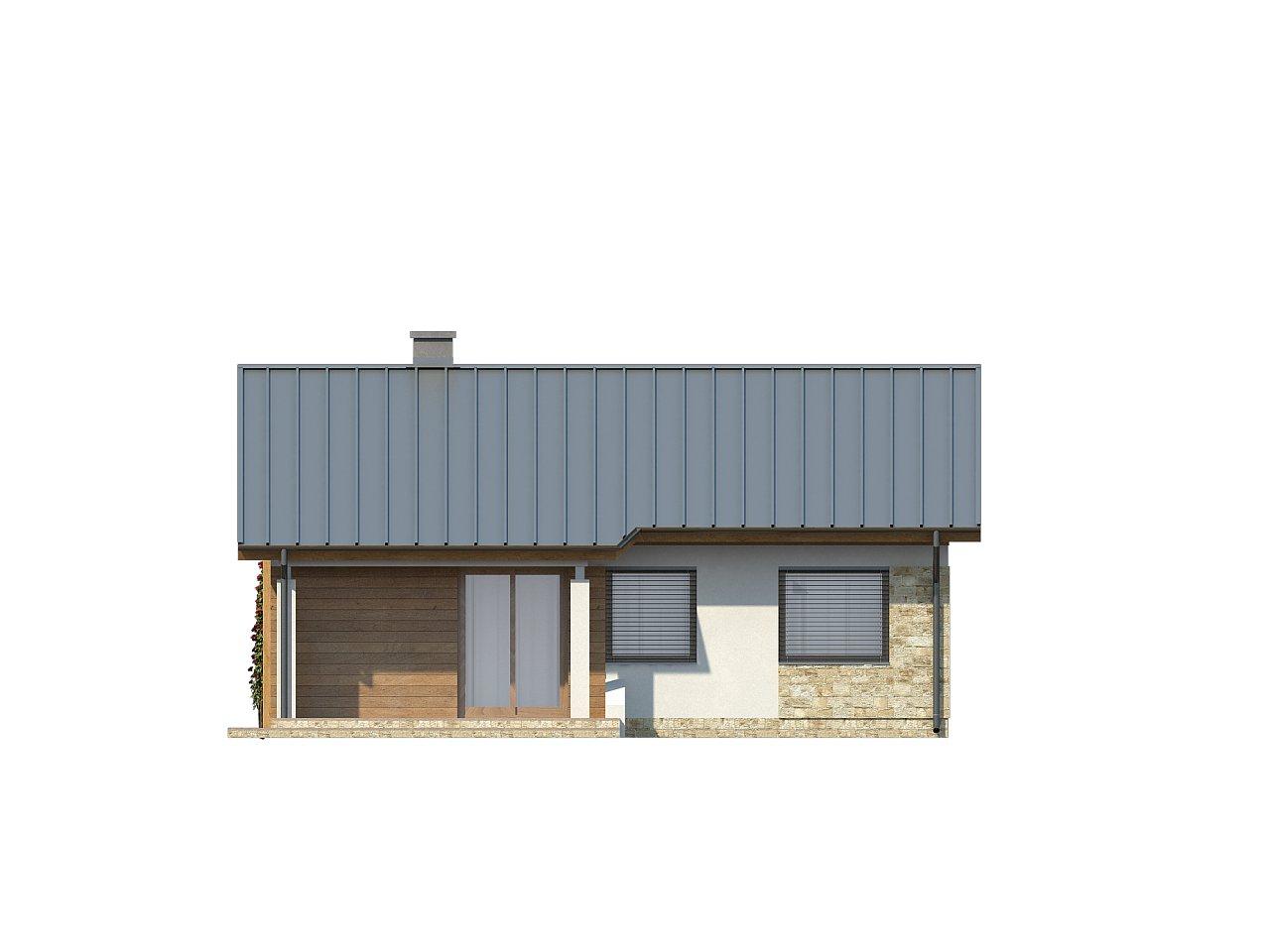 Аккуратный небольшой одноэтажный дом простой конструкции с кухней со стороны сада. 13
