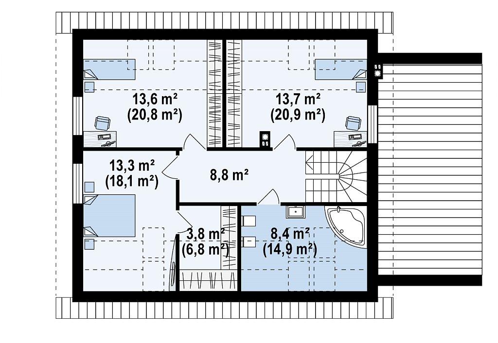 Версия типового проекта Z266 c изменениями в планировке план помещений 2