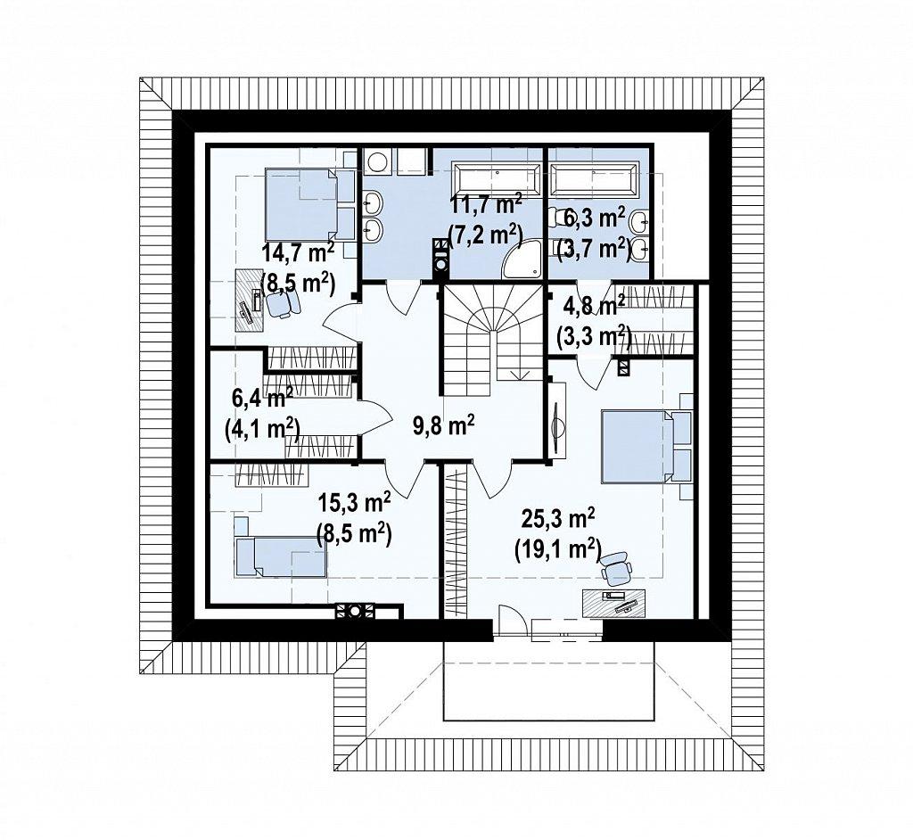 Красивый и функциональный дом с боковой террасой и необычным мансардным окном. план помещений 2