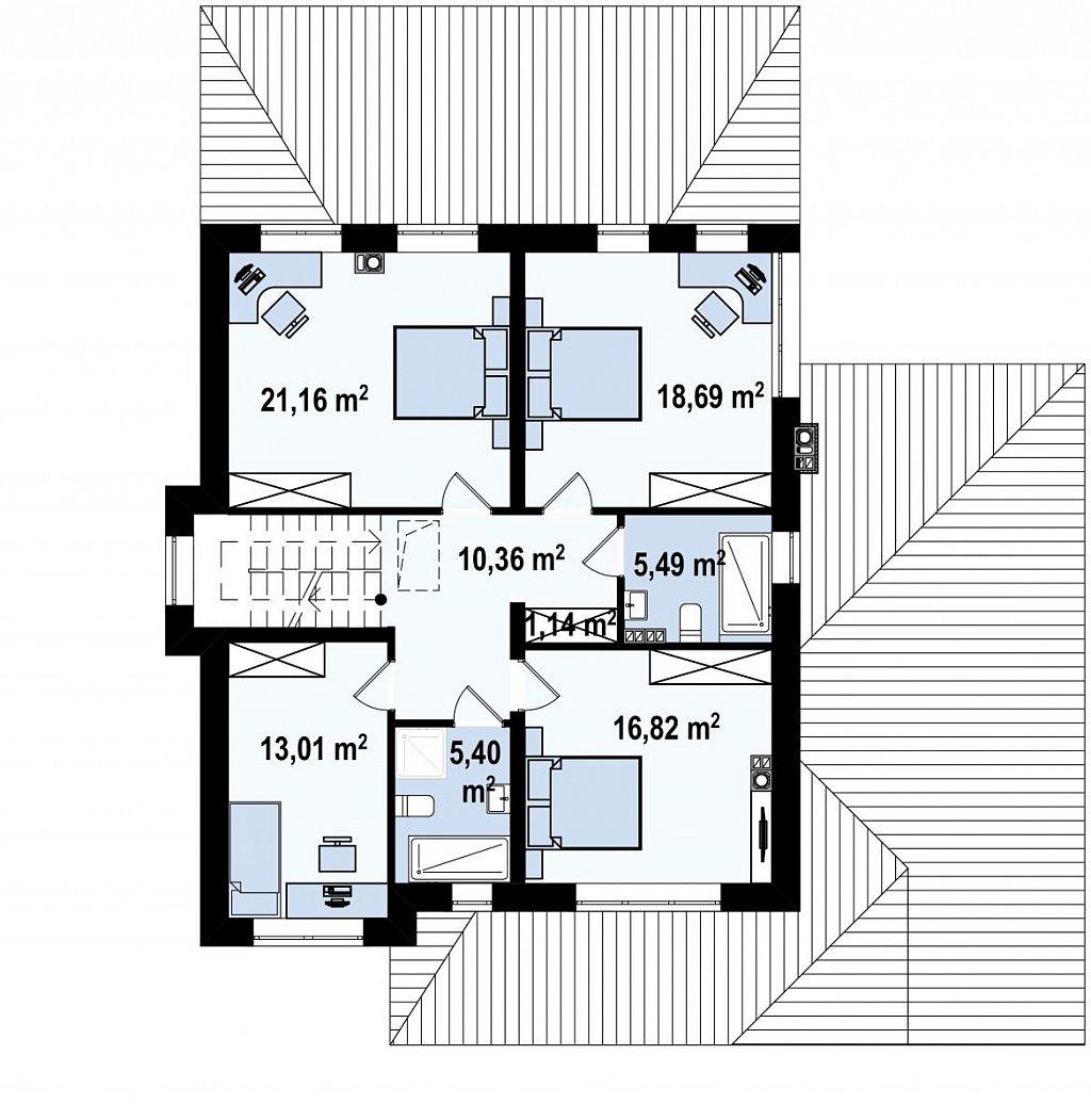 Проект двухуровневого просторного дома с гаражом на одно авто. план помещений 2
