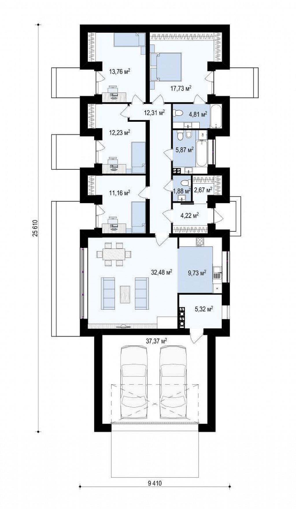 Дом в необычном современном стиле для большой семьи план помещений 1