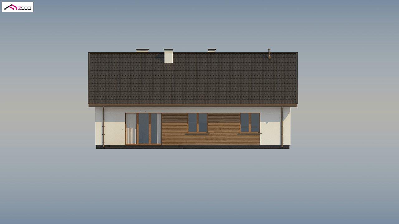 Аккуратный одноэтажный дом с деревянной отделкой на фасадах. 19