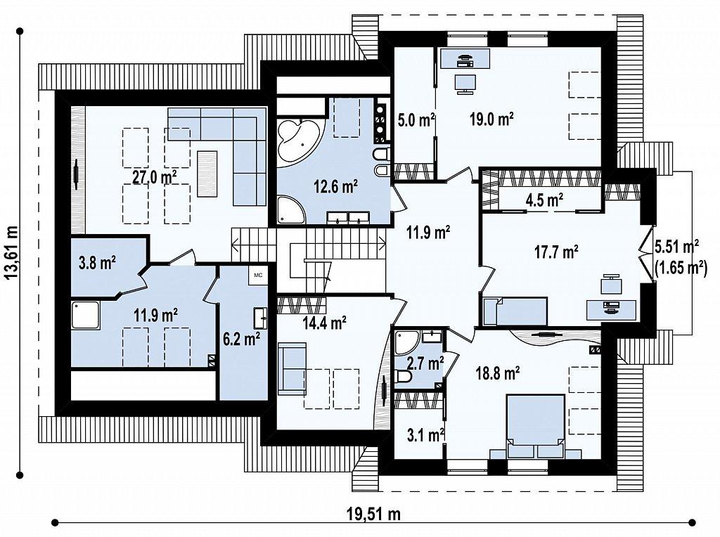 Просторный комфортабельный дом с дополнительной гостиной на втором этаже. план помещений 2