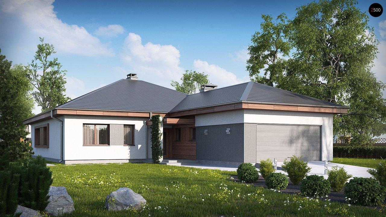 Проект одноэтажного дома с многоскатной кровлей, с фронтальным гаражом. - фото 2