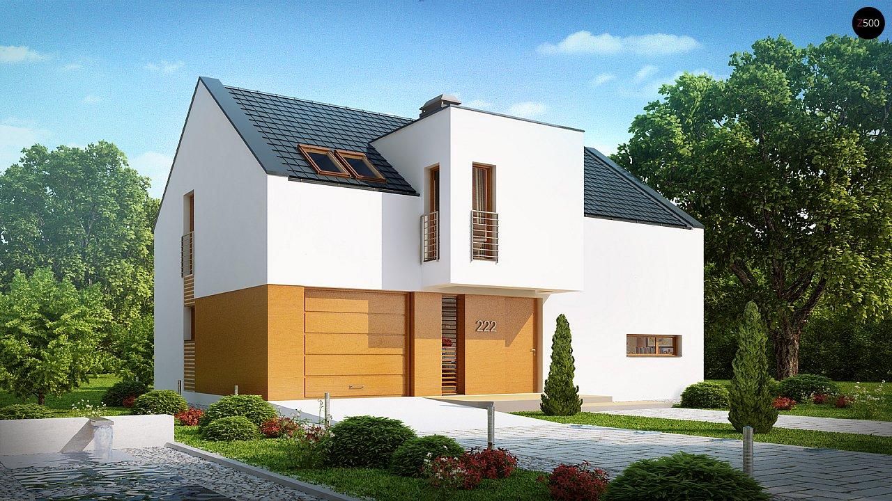 Современный функциональный дом с гаражом, с оригинальным выступом над входом. 1