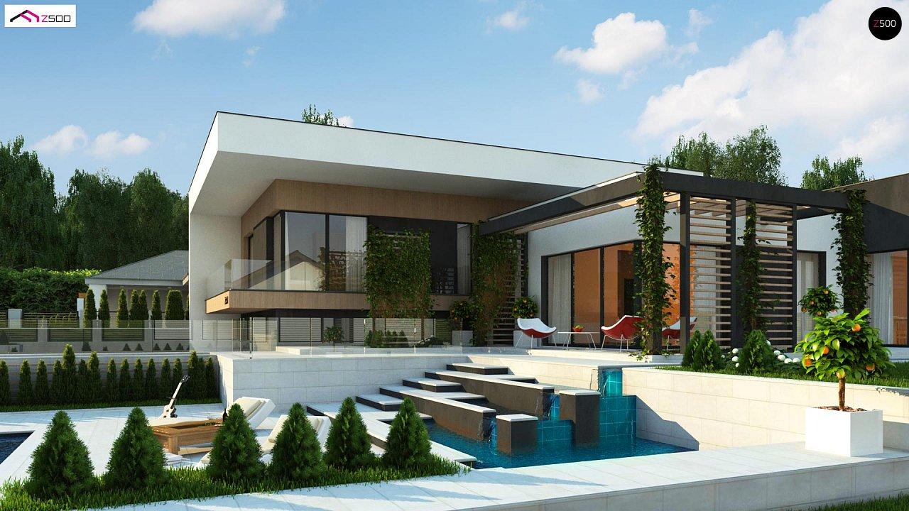 Проект современного двухэтажного дома с большой площадью. остекления. - фото 1