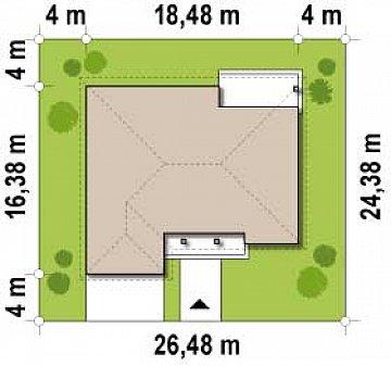 Одноэтажный дом с фронтальным гаражом для двух автомобилей. план помещений 1