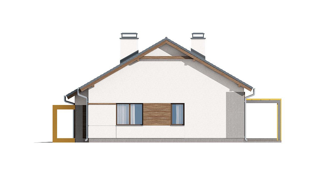 Проект одноэтажного дома с двускатной кровлей, с тремя спальнями и гаражом. - фото 13