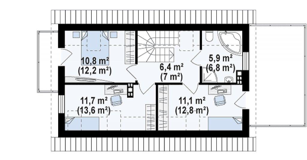 Практичный и уютный дом с оригинальным оформлением фасадов, идеальный для неглубокого участка. план помещений 2